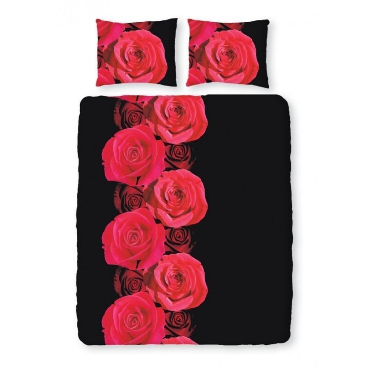 Romanette Satin D'or Roses Zwart